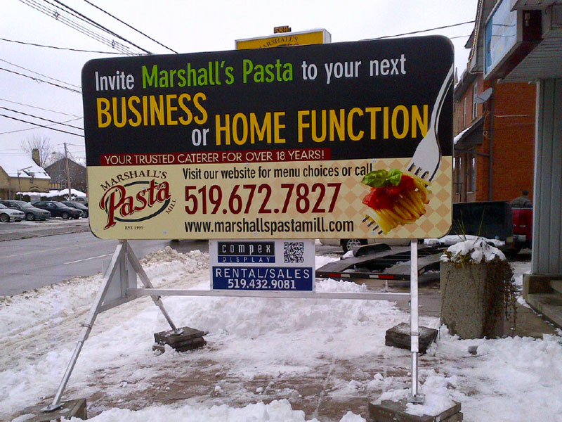 Marshall's Pasta – Portable Sign – Side 2